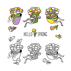 Hello spring. Set of hand drawn graphic elements for spring season design.