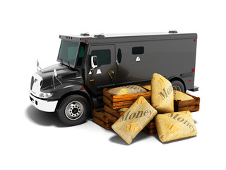 Modern black armored truck for carrying money in bags 3d render on white background with shadow