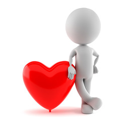 Weißes männchen an roter Luftballon Herz gelehnt