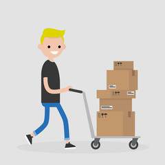 Young courier rolling a pushcart. Cargo. Delivery service. Flat editable vector illustration, clip art