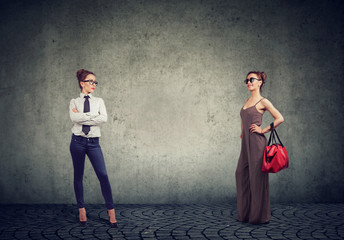 Different women in formal and fashionable outfits