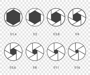 Set of camera shutter icons on white background. Vector illustration EPS10