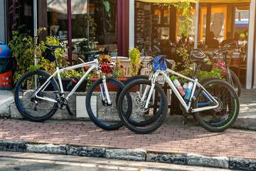 Mountain bikes near the cafe