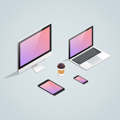 Isometric gadget device vector set. Computer PC monitor, laptop, smartphone, tablet and coffee cup realistic isometric icons.
