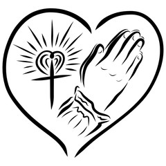 Heart, cross and hands of a praying woman