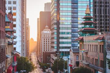 Canvas Prints San Francisco San Francisco downtown with California Street at sunrise, San Francisco, California, USA