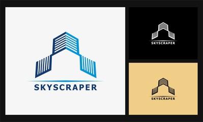 square geometric skyscraper logo