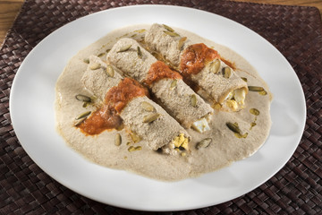 Mayan enchiladas called Papadzules. Typical Yucatan, Mexican dish called Papadzules made with Pumpkin seed sauce