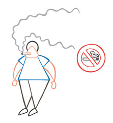 Vector cartoon man smoking cigarette beside no smoking sign