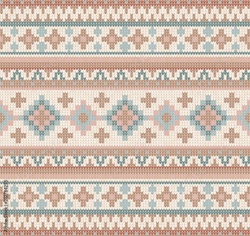 Knitted Indian Rug Paisley Ornament Seamless Pattern Ethnic Mandala