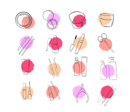 Icons beauty salon. A set of cosmetic make up products. Drawing hands in fashion style. Outline makeup