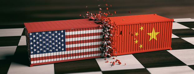 USA and China trade war. US of America and chinese flags crashed containers on chessboard. 3d illustration