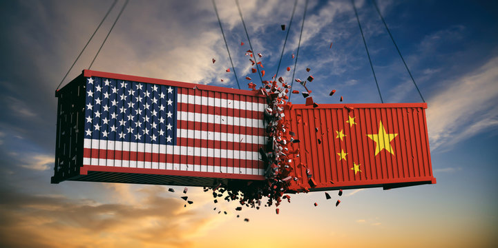 USA and China trade war. US of America and Chinese flags crashed containers on sky at sunset background. 3d illustration