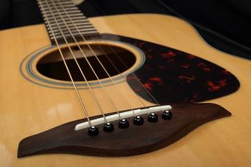 Classic acoustic guitar close-up. Details