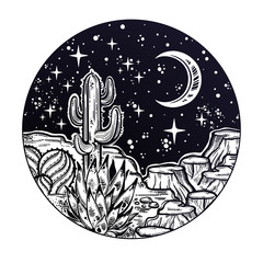 Night desert of America with cacti. Outdoors, travel freedom of nature. Prairie landscape.