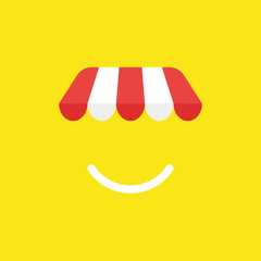 Vector icon concept of shop store awning with smiling mouth on yellow background