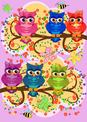 cute colorful cartoon owls sitting on tree branch with flowers.