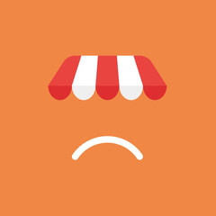 Vector icon concept of shop store awning with sulking mouth on orange background