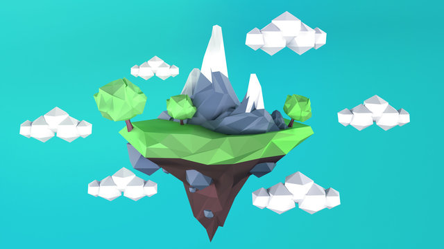 Low Poly island with on a blue sky.3D rednering