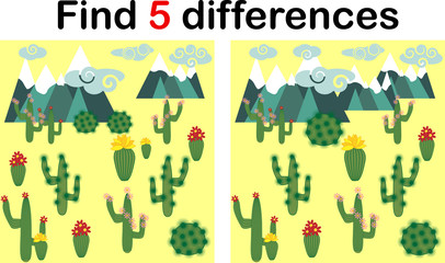 Find the differences between the pictures. Children's educational game. Sweet llama, alpaca among cacti and mountains