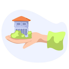 House with greenery in hand. Country house flat vector illustration on white background.