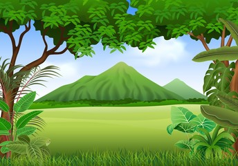 Illustration of beautiful natural landscape background