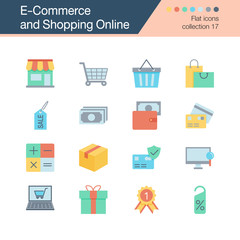 E-commerce and Shopping online icons. Flat design collection 17. For presentation, graphic design, mobile application, web design, infographics.