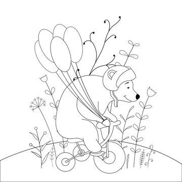 children s coloring book with cartoon animals. Educational tasks for preschool children cute bear