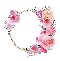 Watercolor frame illustration with flowers
