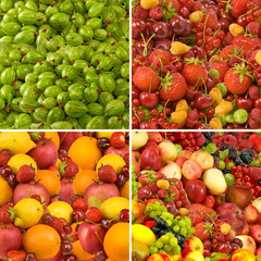 Fototapete -  image of many fruits and berries closeup