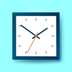 Simple realistic Clock in squre blue frame on color background. Watch on the wall. Vector design object