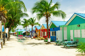 Colourful houses on the tropical island of Barbados Wall mural