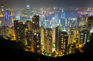 Aerial view of Hong Kong at night from Victoria Peak