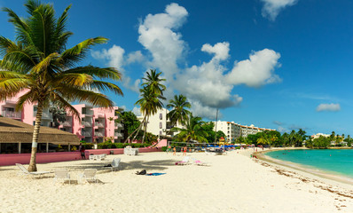 The sunny tropical Dover Beach on the island of Barbados