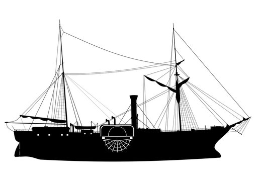 Steamship. Silhouette of a paddle steamer on a white background.Side view. Flat vector.