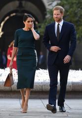 Britain's Prince Harry and his wife Meghan, the Duke and Duchess of Sussex, arrive for a two-day visit to Dublin