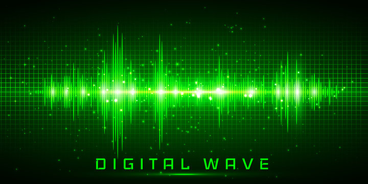 Digital wave, Sound waves oscillating glow light, Abstract technology background - Vector