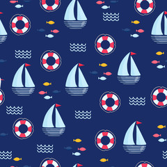 Nautical seamless vector pattern
