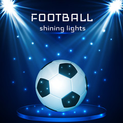 Football ball, soccer ball on blue background  in the light of searchlights. Vector illustration