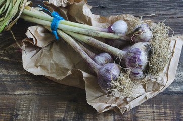 Bunch of garlic with root on wooden background and paper.