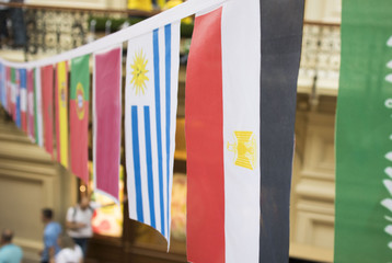 Flags of many countries hang from the ceiling on the ropes in the Mall