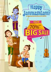 Krishna Janmashtami Sale and Advertisement Background