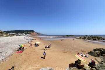 Sidmouth beach in the sun
