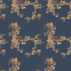 Military camouflage seamless pattern in different shades of brown and blue colors