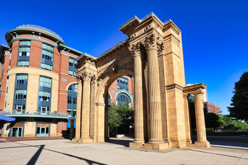 Arch Park in McFerson Commons in the Arena District of downtown Columbus, Ohio is a popular urban destination for sports and entertainment.