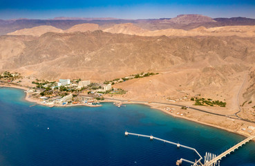 Eilat, Israel.  Aerial image over the Red Sea.