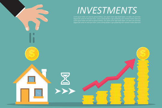Business concept. Investing, real estate, investment opportunity. Vector illustration