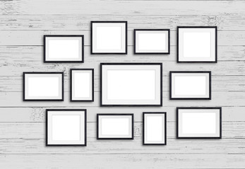 Black photo frames mock up, twelve units set collage on wooden wall, 3d illustration