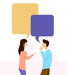 Friends talking. Discuss, teamwork. Vector illustration design.