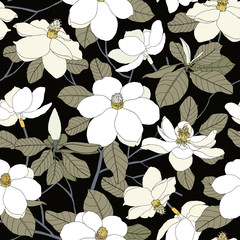 Seamless pattern with magnolia flowers and leaves on black backg